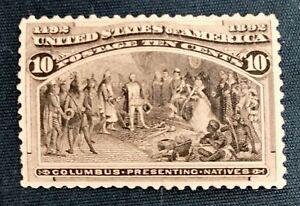 1893 US 237 10c Chicago Columbian Exposition Mint VF OG NH SCV $325