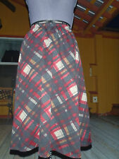 Plaid Print Polyester Spandex Stretch Panel Skirt Below Knee M fits Sz 6-12