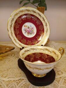 Foley English China tea cup and saucer set vintage gold embellished