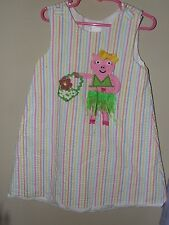 Potato Saks 4T Pig A Line Dress Hula Skirt Seersucker Pink Striped Boutique Blue