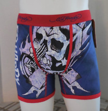 Ed Hardy Men's Rock Black Skull Boxer Briefs Red Size Small New