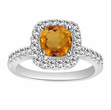 Citrine Solitaire With Accent Ring 14k White Gold Over Sterling Silver 925