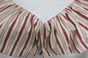 WAVERLY Red Tan Coral Ivory GRAIN SACK STRIPE Cotton Duck Twin Bed Skirt Ruffle