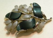"""STAR signed Forest Green & Taupe Thermoset Pin Brooch Mid Century Vintage 2""""Long"""