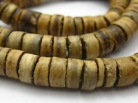 """2 Strands of 22"""" Natural Coconut Column Heishi Beads 8mm"""