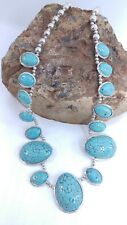 Southwestern Tribal Style Faux Resin Turquoise Blue Squash Silver Tone Necklace