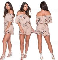 Size 8 Sand Playsuit Bardot Dress Off Shoulder Shorts Jumpsuit Womens Ladies New