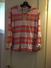 Christopher And Banks WOMANS Size L Multicolor Striped Long Sleeve Blouse/hoodie