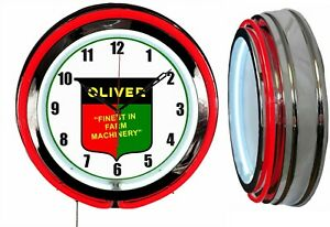 """Oliver Finest in Farm Machinery 19"""" Double Neon Clock Red Neon Man Cave Tractor"""