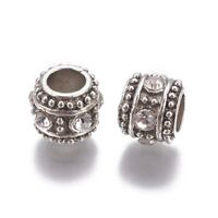 10 Pcs Column Antique Silver Crystal Alloy Rhinestone Large Hole Beads 10x8.5mm
