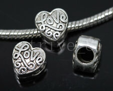 8/30/150pcs Tibetan Silver Bulk Lots big hole Heart Shape European Charms Beads