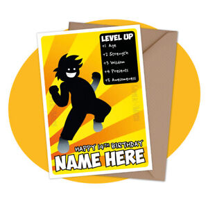 Level Up - PERSONALISED BIRTHDAY CARD - personalized gamer pc xbox ps4 switch