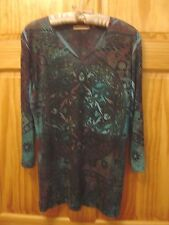 NOTATIONS Multicolor Abstract Design V-Neck Top - Women's Size Large
