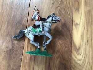 Vintage Plastic  mounted Medieval knight On Horseback . 7 Inches Tall.