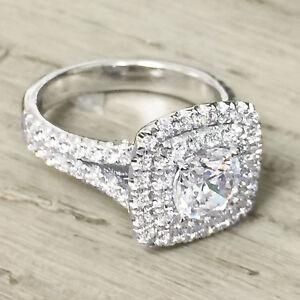14k White Gold Cushion Moissanite and Diamond Engagement Ring Halo Bridal 1.70ct