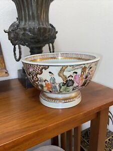 Maitland Smith Chinese Famille Rose Court Scene Porcelain Bowl