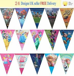 New 40 Designs Birthday Party Theme Flag Bunting Decoration Banner 2.5m 10 Flags