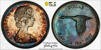 1967 CANADA GOOSE SILVER DOLLAR PCGS PL64 INTENSE COLOR DEEP TONED UNC (DR)
