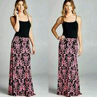 Damask Printed Womens Maxi Long Skirt Hot Pink Black Tribal by Vanilla Bay S M L