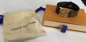 100% Authentic Louis Vuitton Monogram Eclipse Hockenheim Bangle Bracelet M6295E