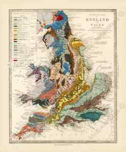 antique geological map England Wales R Murchison 1842 British geology art poster