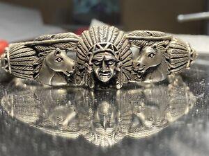 Bracelet Cuff Fred Harvey Style Sterling Silver  Horse Indian  bracelet 53 Grams