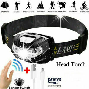 USB Rechargeable LED Headlamp Torch Camping Head Light Worklight Super Bright UK