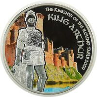 """2009 $5 SILVER PROOF COOK ISLANDS """"KING ARTHUR"""" LOW MINTAGE ONLY 2,500  (102520)"""