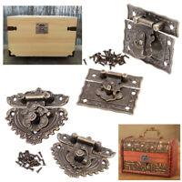 2 Set Antique Hasp Lock Wooden Box Latch with Screws Retro Hardware Decoration