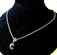 """925 Sterling Silver Onyx Ball Pendant on 21"""" Rope Necklace Chain"""