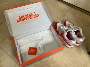 Nike Air Max 1 Anniversary Restock Red White 908375 103 Men's Size 9
