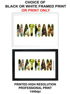 A4 Personalised Name Shrek Fiona Picture Poster Framed or Print Only Gift Xmas