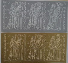 2 sheets of Bride and Groom  Peel-offs  Gold and Silver  6 images in total