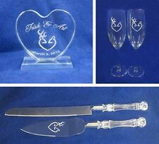 Browning Deer bride Hunting Wedding Glasses knife server cake topper set engrave
