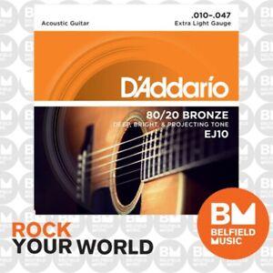 D'Addario EJ10 Acoustic Guitar Strings 80/20 Bronze 10-47 Extra Light
