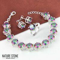 Special Price Rainbow Mystic Topaz Gems Silver Bracelet & Ring & Earrings Size 9