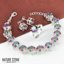 Gorgeous Set Rainbow Mystic Topaz Gems Silver Bracelet & Ring & Earrings Size 8