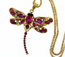 Multi-Color Crystal Enamel dragonfly Pendant Sweater Chain Necklace Woman gift