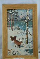 Vintage Framed Pair of Deer in the Snow  Paint by Number Picture