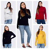 LADIES QUALITY TURTLE ROLL HIGH NECK STRETCH SOFT COTTON RIBBED TOPS JAMMAUK