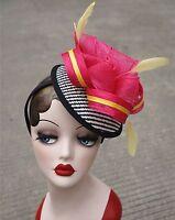 Womens Sinamay Fascinator Cocktail Headband Feather Kentucky Derby Oaks Hat T216