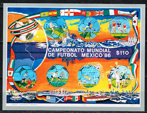 Mexico Soccer World Cup Souvenir Sheet 1986 MNH numerated  A-5