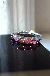 NEW Natural Pink Tourmaline Vintage Heirloom-Inspired Platinum Band Ring, Size 5
