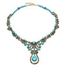 Halloween Sale Turquoise Diamond Princess Necklace Gold Sterling Silver Jewelry