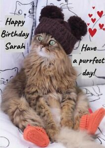 Personalised funny cute cat Birthday Card gift friend daughter sister niece mum