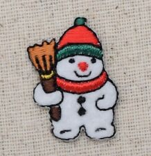Small/Mini - Christmas Snowman Broom - Iron on Applique/Embroidered Patch