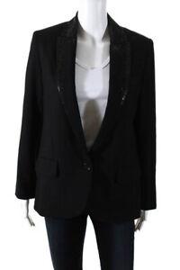 Zadig & Voltaire Womens Studded Single Breasted Tuxedo Blazer Black Medium