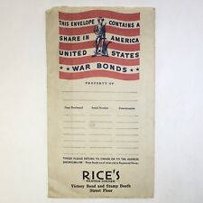 US War Savings Bonds Envelope Rice's Fashion Corner Victory Bond Stamp Booth