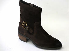 Ladies Hush Puppies Pennine Ankle Boot Buckle Detail Dark Brown Waxy Suede 7 UK Wide