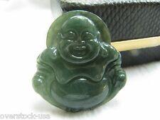 FINE CERTIFIED 100% A Grade Jade (Oil Green Jadeite) Buddha Pendant